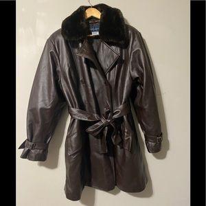 Daniel Hechter Fur Leather Trench Coat size L